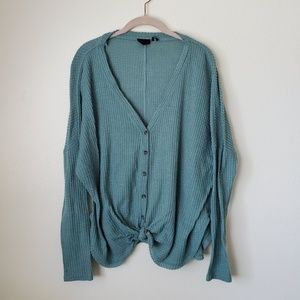 UO JOJO Oversized Thermal Button Up Knit Blouse M